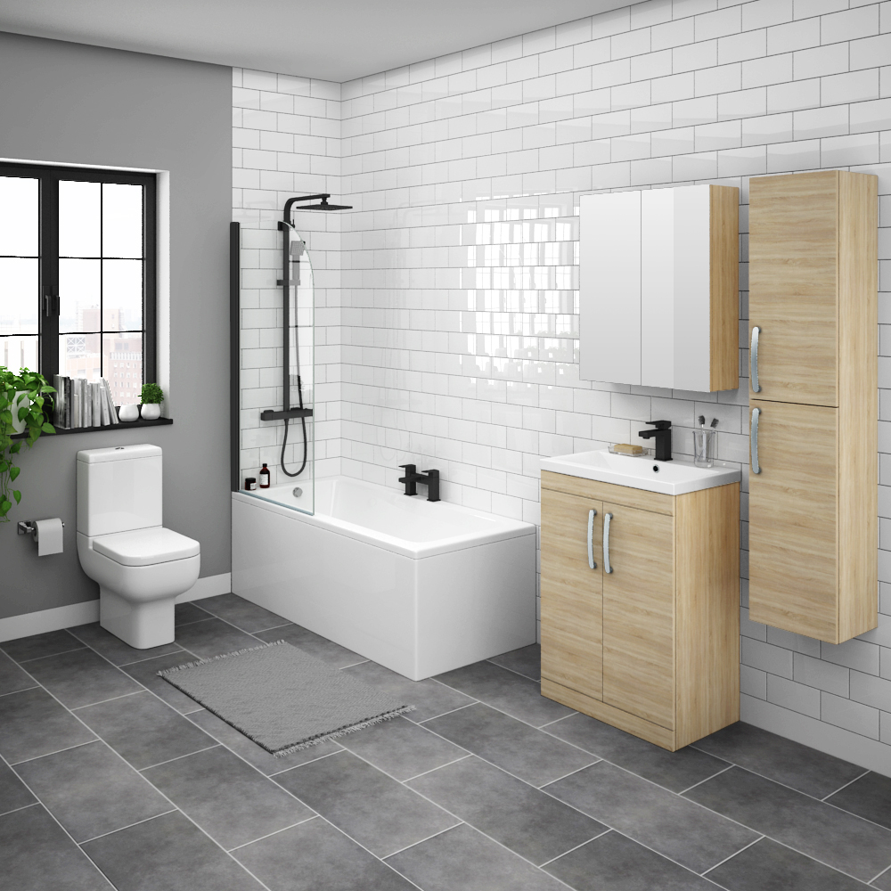 Brooklyn Natural Oak Bathroom Suite with Tall Cabinet
