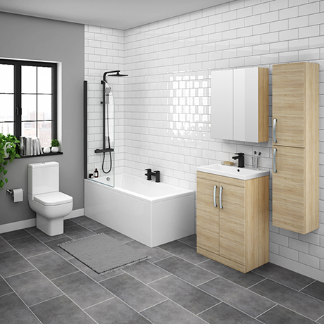 Brooklyn Natural Oak Bathroom Suite with Tall Wall Hung Cabinet
