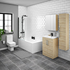 Brooklyn Natural Oak Bathroom Suite with Tall Cabinet profile small image view 1