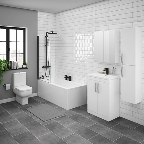 Brooklyn Gloss White Bathroom Suite with Tall Cabinet