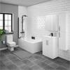 Brooklyn Gloss White Bathroom Suite with Tall Cabinet profile small image view 1
