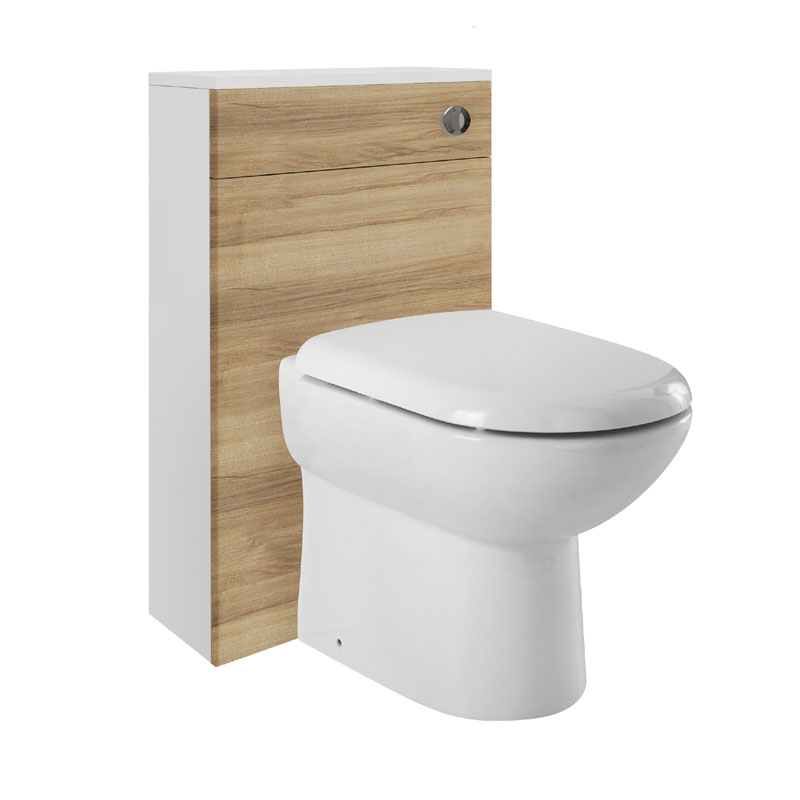 Ultra - Design 500 x 200mm Back to Wall WC Unit - Natural Walnut - BTW015 profile large image view 2