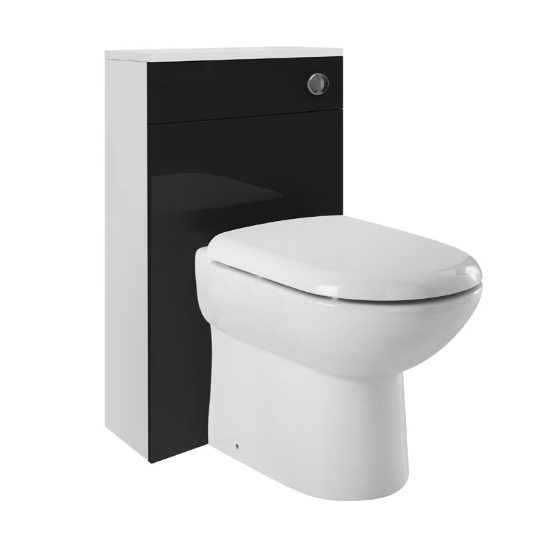 Ultra 500 x 200mm back to wall wc unit high gloss black for 200mm kitchen wall unit