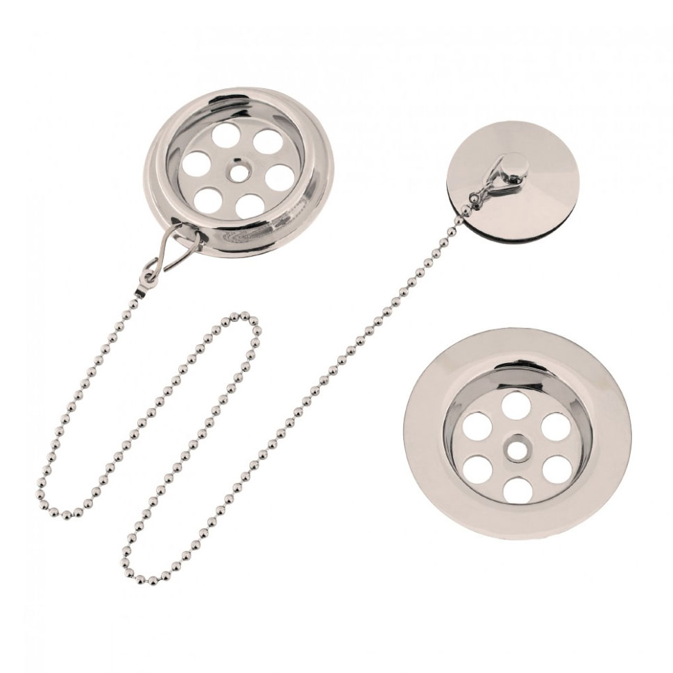 Crosswater - Standard Nickel Bath Waste with Plug and Chain - BTW0221N Large Image