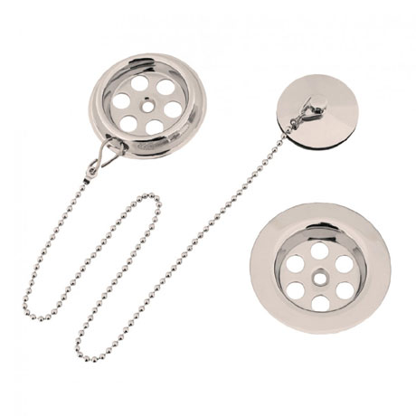 Crosswater - Standard Nickel Bath Waste with Plug and Chain - BTW0221N