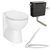 Ceramic BTW Toilet Pan with Soft-Close Seat & Dual Flush Concealed Cistern profile small image view 1