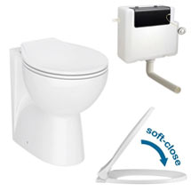 Ceramic BTW Toilet Pan with Soft-Close Seat & Dual Flush Concealed Cistern Medium Image