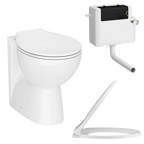 Ceramic BTW Toilet Pan with Soft-Close Seat & Dual Flush Concealed Cistern