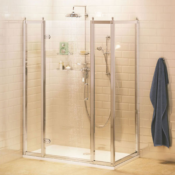 Burlington Traditional Hinged Shower Door with 2 x Inline Panel & Side Panel Large Image