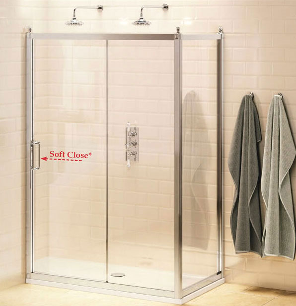 Burlington Traditional Soft Close Sliding Shower Door with Side Panel Large Image
