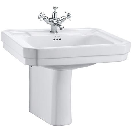 Burlington Victorian Large Basin and Semi Pedestal - Various Tap Hole Options