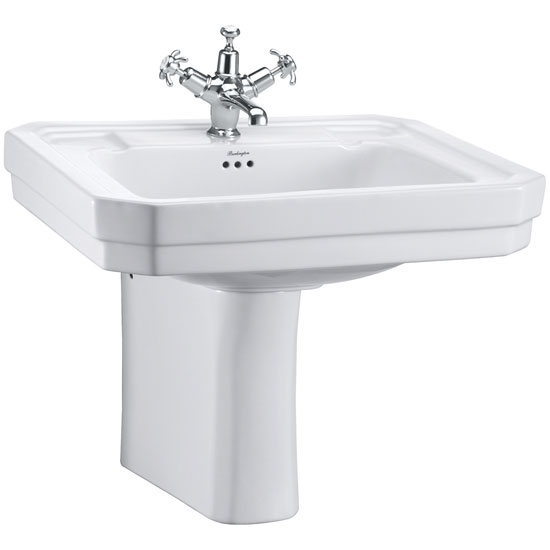 Burlington Victorian Large Basin and Semi Pedestal - Various Tap Hole Options Large Image
