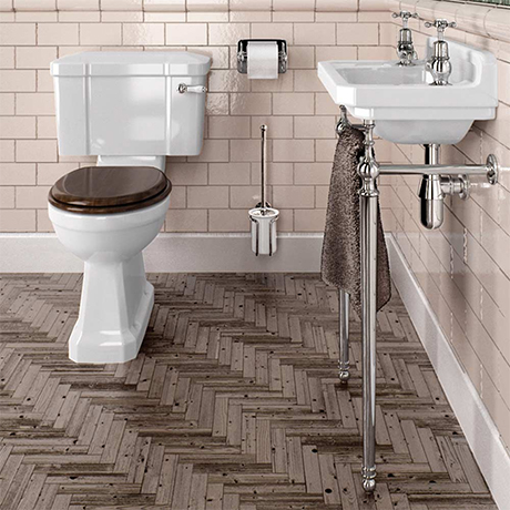 Burlington Cloakroom Slimline Toilet + Edwardian Basin inc. Wash Stand