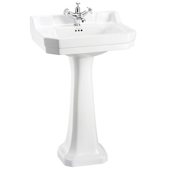Burlington Close Coupled WC Inc. Edwardian Medium Basin & Pedestal - Various Tap Hole Options profile large image view 3