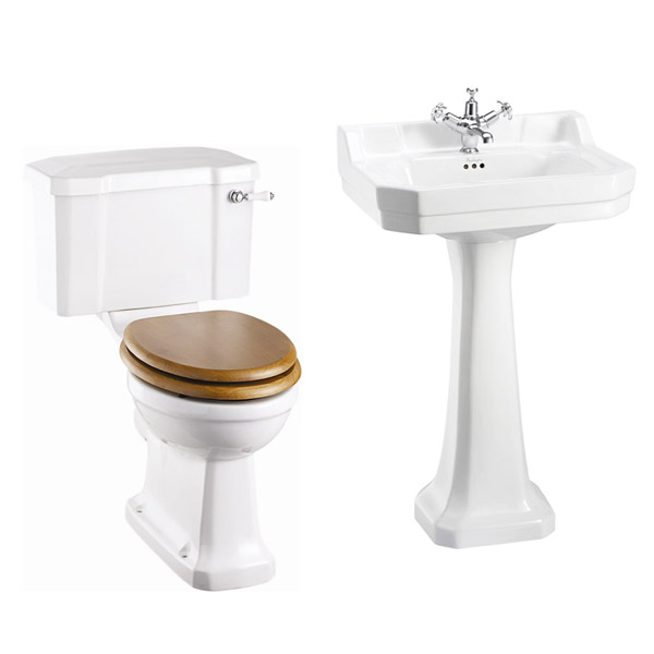 Burlington Close Coupled WC Inc. Edwardian Medium Basin & Pedestal - Various Tap Hole Options profile large image view 1