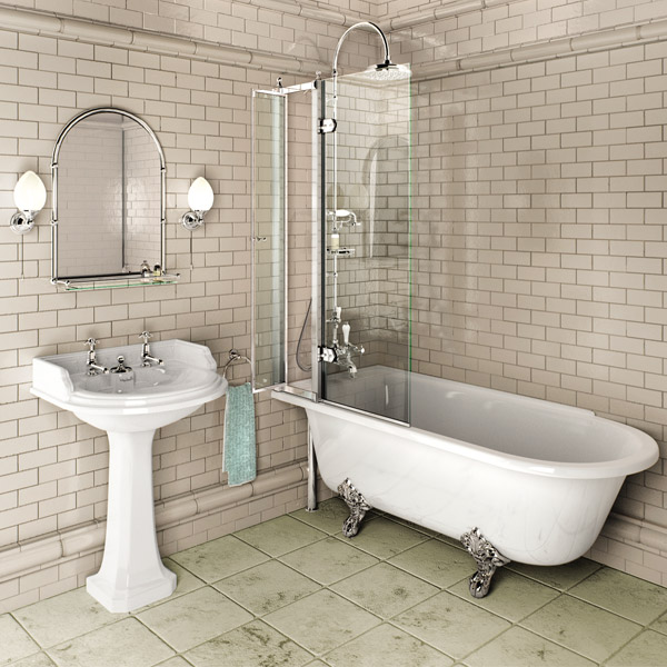 Burlington - Hampton 1700mm Showering Bath with Legs - Left Hand Option Profile Large Image