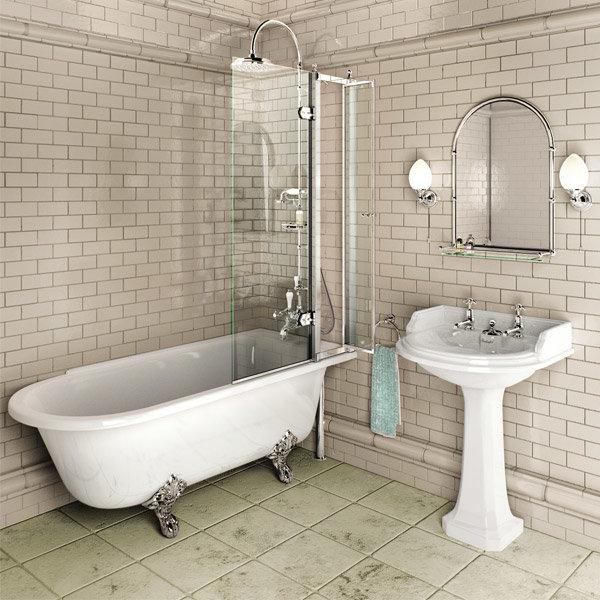 Burlington Hampton 1500mm Showering Bath with Legs - Right Hand Option profile large image view 2