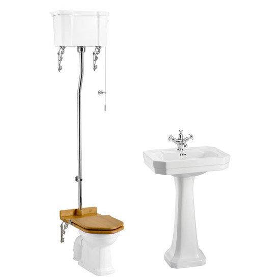 Burlington High Level WC w/ Victorian Large Basin & Pedestal - Various Tap Hole Options Large Image