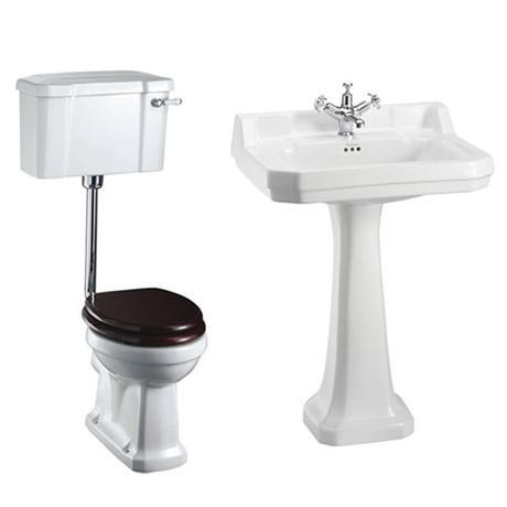 Burlington Low Level WC w/ Edwardian Large Basin & Pedestal - Various Tap Hole Options