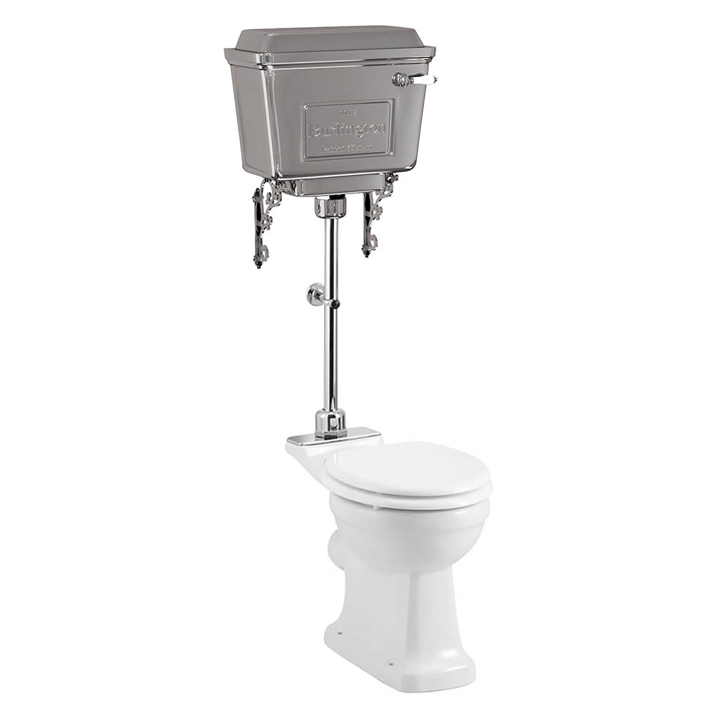 Burlington Standard Medium Level WC with Chrome Lever Cistern