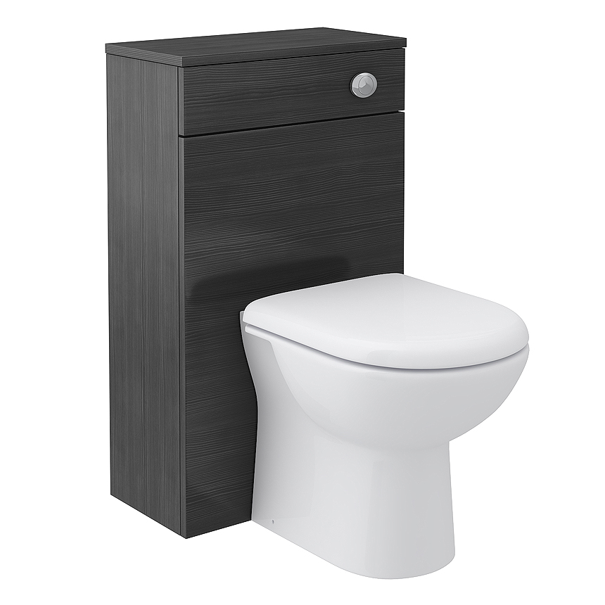 white toilet with a black wooden back
