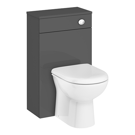 Brooklyn WC Unit with Cistern - Gloss Grey - 500mm
