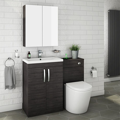 Brooklyn Black Modern Sink Vanity Unit + Toilet Package