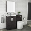 Brooklyn Black Modern Sink Vanity Unit + Toilet Package profile small image view 1