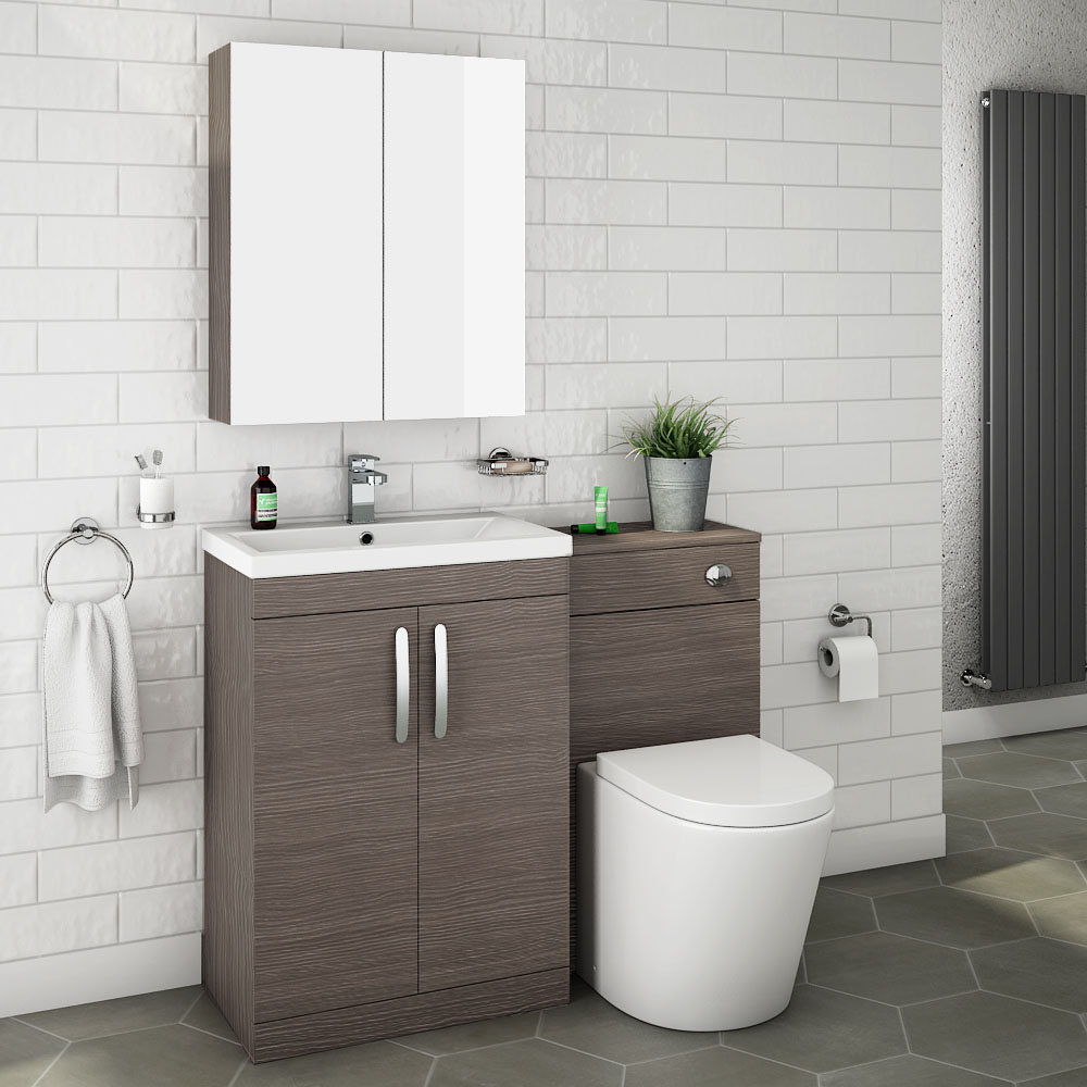 Brooklyn Grey Avola Modern Sink Vanity Unit Toilet