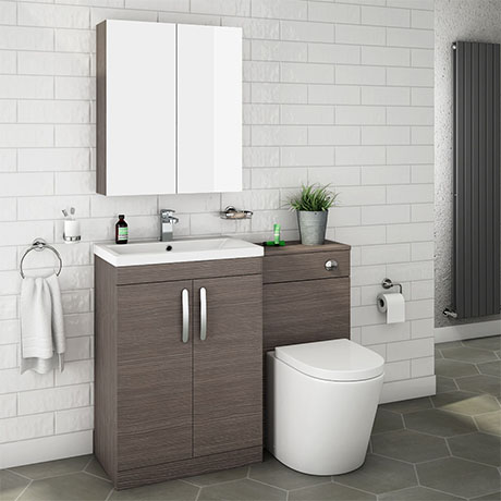 Brooklyn Grey Avola Modern Sink Vanity Unit + Toilet Package