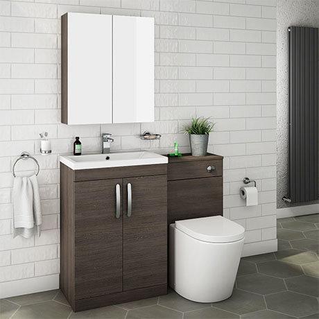 Brooklyn Mid Oak Modern Sink Vanity Unit + Toilet Package