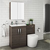 Brooklyn Mid Oak Modern Sink Vanity Unit + Toilet Package profile small image view 1