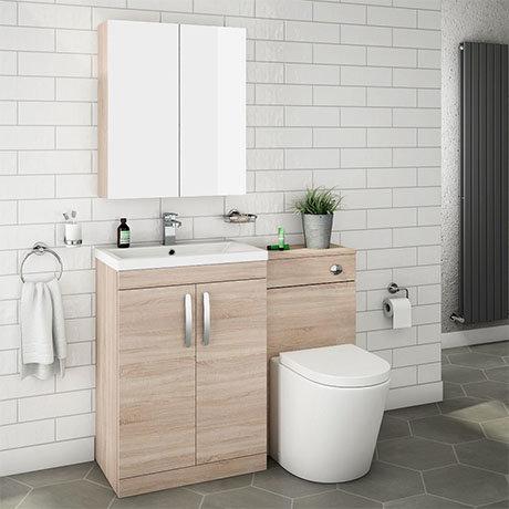 Brooklyn Natural Oak Modern Sink Vanity Unit + Toilet Package