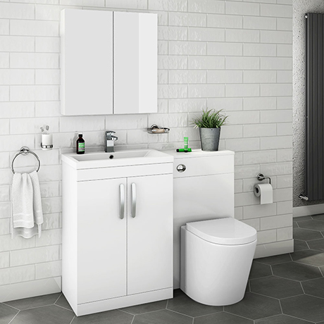 Brooklyn White Gloss Modern Sink Vanity Unit + Toilet Package