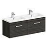 Brooklyn 1205mm Black Wall Hung Single 2 Double Basin Vanity Unit profile small image view 1