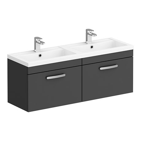 Brooklyn 1205mm Gloss Grey Wall Hung 2 Drawer Double Basin Vanity Unit