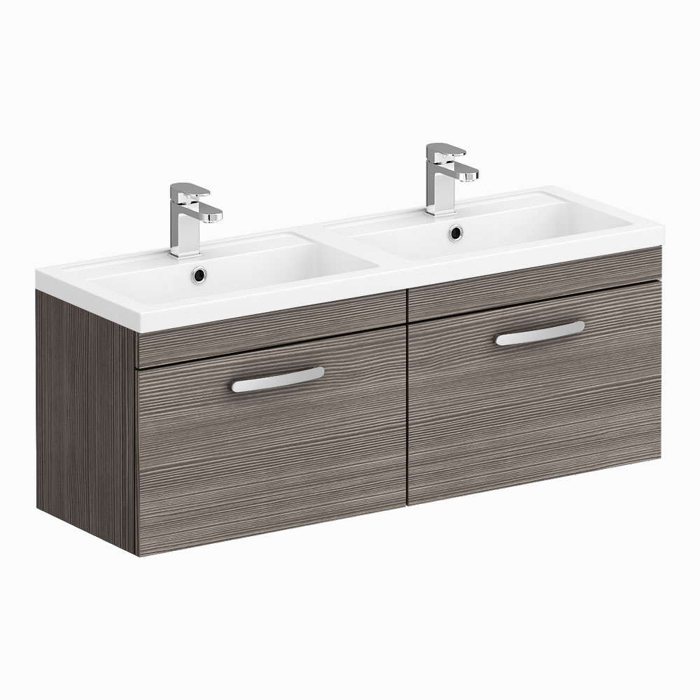 Brooklyn 1205mm Grey Avola Wall Hung 2 Drawer Double Basin Vanity Unit