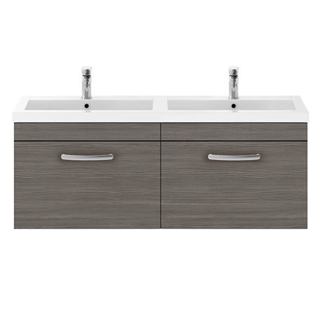 Brooklyn 1205mm Grey Avola Wall Hung 2 Drawer Double Basin Vanity Unit