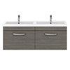 Brooklyn 1205mm Grey Avola Wall Hung 2 Drawer Double Basin Vanity Unit profile small image view 1