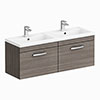 Brooklyn 1205mm Grey Avola Wall Hung 2 Drawer Double Basin Vanity Unit profile small image view 1