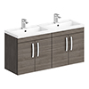 Brooklyn 1205mm Grey Avola Wall Hung 4 Door Double Basin Vanity Unit profile small image view 1