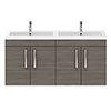 Brooklyn 1205mm Grey Avola Wall Hung 4 Door Double Basin Vanity Unit profile small image view 1