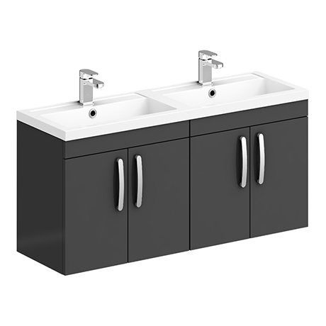Brooklyn 1205mm Gloss Grey Wall Hung 4 Door Double Basin Vanity Unit