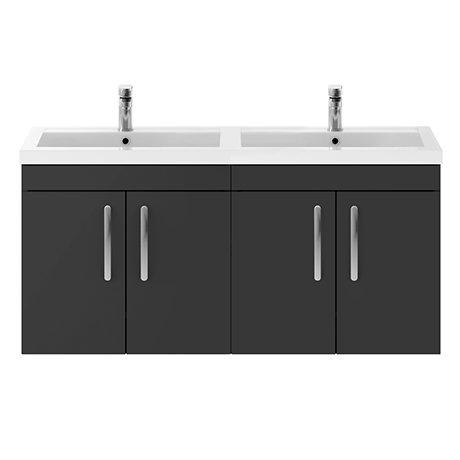 Brooklyn 1205mm Gloss Grey Wall Hung 4 Door Double Basin Vanity Unit