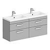 Brooklyn 1205mm Grey Mist Wall Hung 4 Drawer Double Basin Vanity Unit profile small image view 1