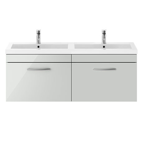 Brooklyn 1205mm Grey Mist Wall Hung 2 Drawer Double Basin Vanity Unit