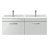 Brooklyn 1205mm Grey Mist Wall Hung 2 Drawer Double Basin Vanity Unit profile small image view 1