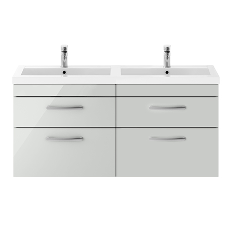 Brooklyn 1205mm Grey Mist Wall Hung 4 Drawer Double Basin Vanity Unit