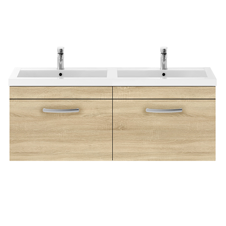 Brooklyn 1205mm Natural Oak Wall Hung 2 Drawer Double Basin Vanity Unit