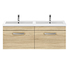 Brooklyn 1205mm Natural Oak Wall Hung 2 Drawer Double Basin Vanity Unit profile small image view 1